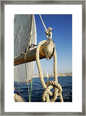 Rope On Sailboat Mast During Navigation Framed Print by Sami Sarkis