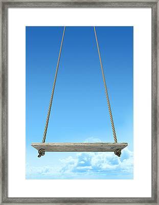 Rope Swing With Blue Sky Framed Print by Allan Swart