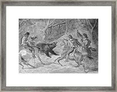 Roping A Grizzly, Illustration From Harpers Weekly, 1874, From The Pageant Of America, Vol.3 Framed Print