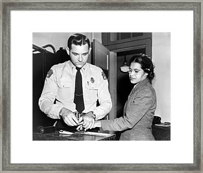 Rosa Parks Gets Fingerprinted Framed Print by Underwood Archives