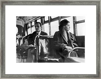 Rosa Parks On Bus Framed Print by Underwood Archives