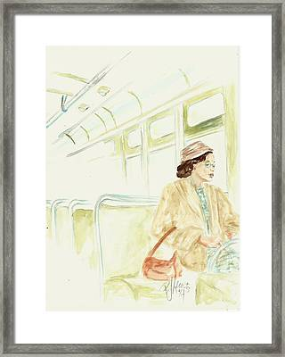 Rosa Parks Rides Framed Print by P J Lewis