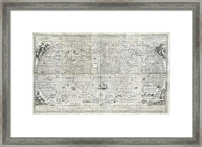 Rosaccio World Map Framed Print by Library Of Congress, Geography And Map Division
