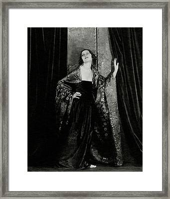 Rosalind Fuller Wearing A Dress And Cape Framed Print