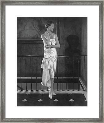 Rosalind Stair Wearing A Patou Dress Framed Print