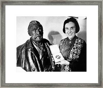 Rosalyn Yalow With Her 1977 Nobel Prize Framed Print by Emilio Segre Visual Archives/american Institute Of Physics