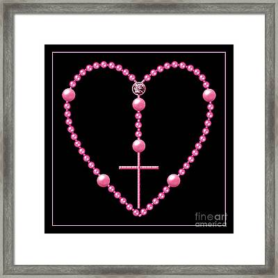 Rosary With Pink And Purple Beads Framed Print by Rose Santuci-Sofranko
