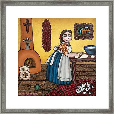 Rosas Kitchen Framed Print by Victoria De Almeida