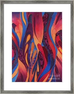 Rose And Blue Silk Design 2 Framed Print