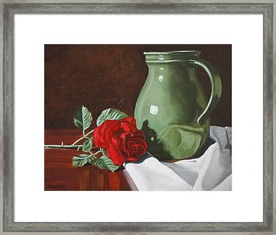 Rose And Green Jug Still Life Framed Print by Daniel Kansky