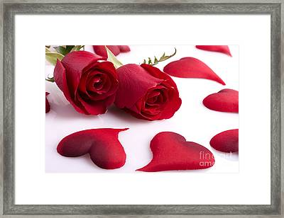 Rose And Heart Framed Print by Boon Mee