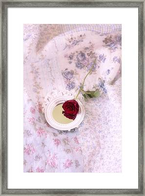 Rose And Mirror Framed Print