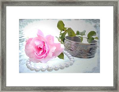 Rose And Pearls Framed Print