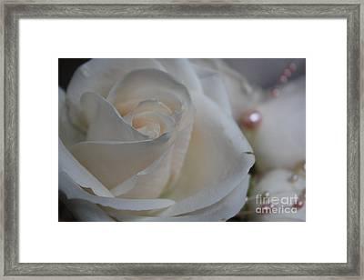 Rose And Pearls Framed Print by Nancy TeWinkel Lauren