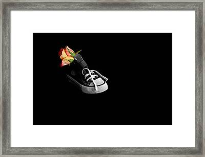 Rose And Shoe Framed Print