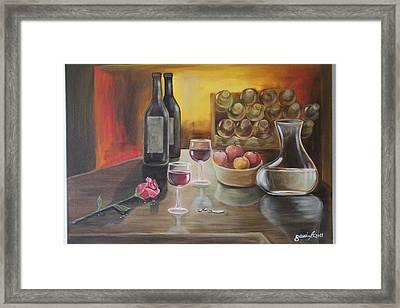 Rose And Wine Framed Print by Gani Banacia