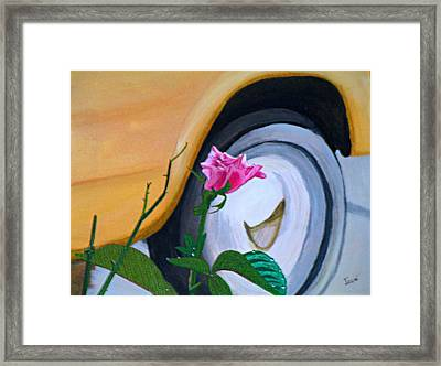 Framed Print featuring the painting Rose At The Curb by Hilda and Jose Garrancho