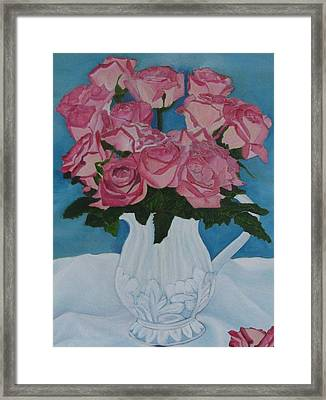 Framed Print featuring the photograph Rose Bouquet In A Pitcher by Margaret Newcomb