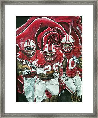 Framed Print featuring the painting Rose Bowl Badgers by Dan Wagner