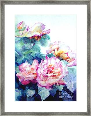 Framed Print featuring the painting Pink Rose Bush by Greta Corens