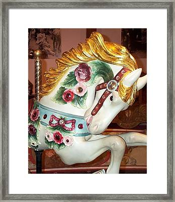 Framed Print featuring the photograph Rose Covered Pony by Barbara McDevitt