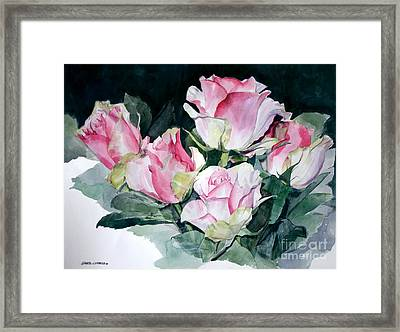 Watercolor Of A Pink Rose Bouquet Celebrating Ezio Pinza Framed Print
