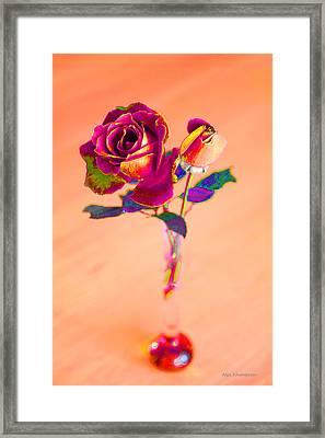 Rose For Love - Metaphysical Energy Art Print Framed Print by Alex Khomoutov