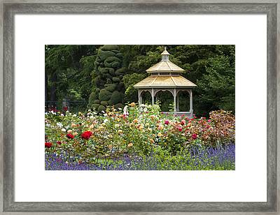 Framed Print featuring the photograph Rose Garden Gazebo by Sonya Lang