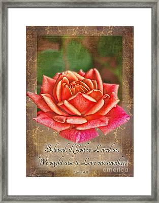 Rose Greeting Card With Verse Framed Print by Debbie Portwood