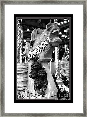 Rose Horse In Black And White Framed Print