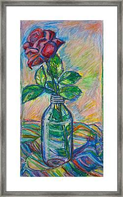 Rose In A Bottle Framed Print