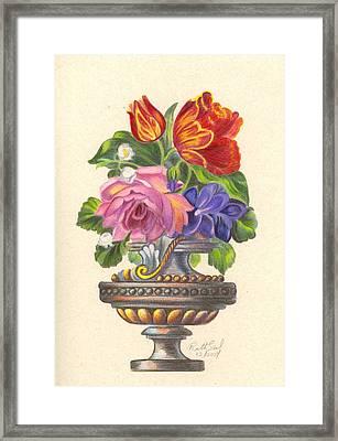 Rose In Antique Vase Framed Print