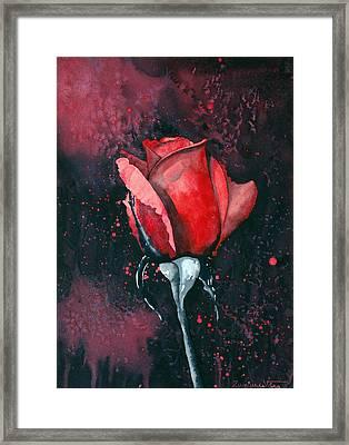 Rose In Flames Framed Print
