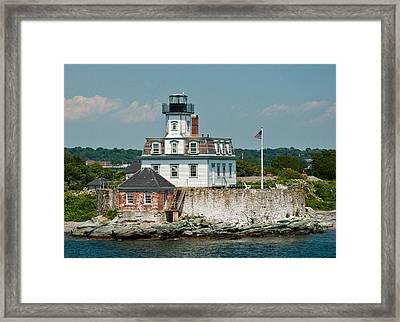Rose Island Lighthouse Framed Print by Nancy De Flon