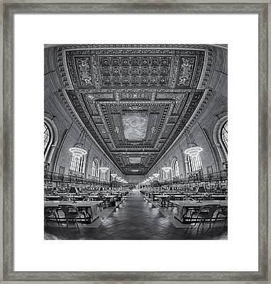 Rose Main Reading Room At The Nypl Bw Framed Print by Susan Candelario