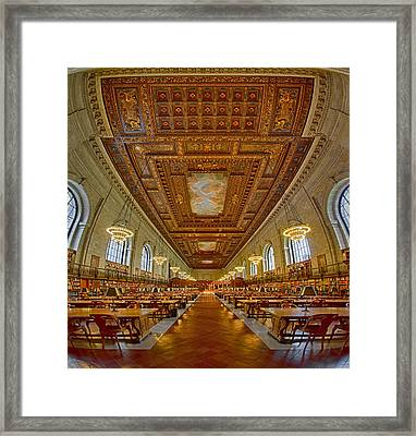 Rose Main Reading Room At The Nypl Framed Print by Susan Candelario