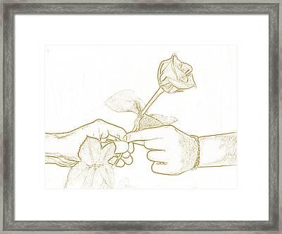 Rose Outline By Jan Marvin Studios Framed Print