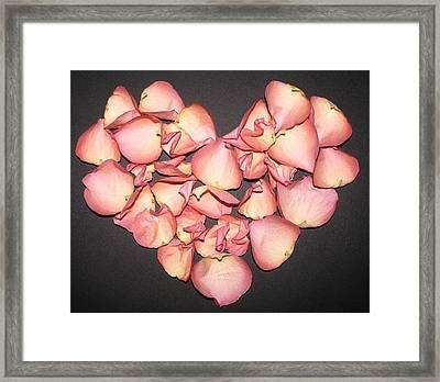 Rose Petals Heart Framed Print by Eva Csilla Horvath