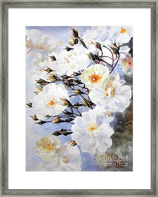 Rose Tchaikowsky A Stem Of White Roses And Buds Framed Print by Greta Corens