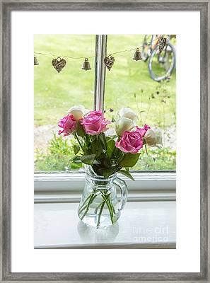 Rose Vase With Hearts Framed Print
