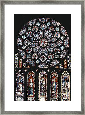 Rose Window At Chartres Cathedral Framed Print