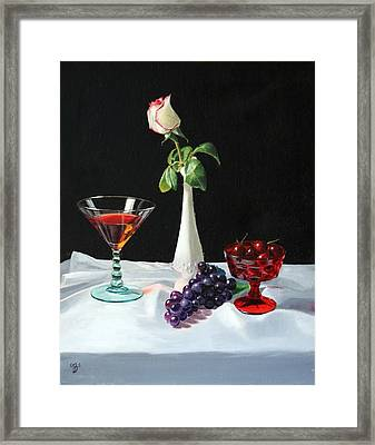 Rose Wine And Fruit Framed Print by Glenn Beasley