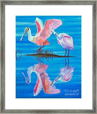 Roseate Spoonbill Pair Framed Print by Jane Axman