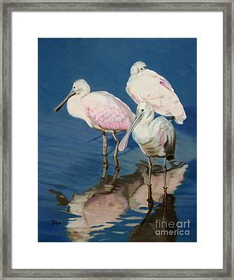 Framed Print featuring the painting Roseate Spoonbill Trio by Jimmie Bartlett