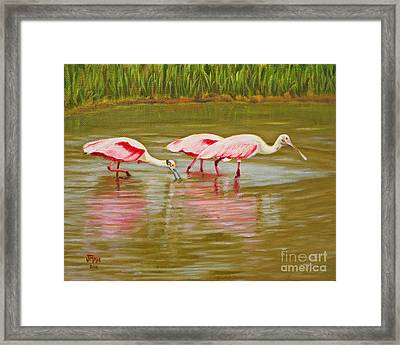 Framed Print featuring the painting Roseatte Spoonbill Party by Jimmie Bartlett