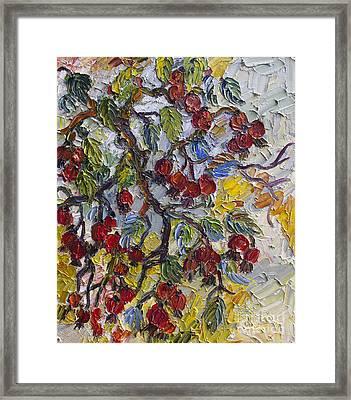 Rosehips Modern Impressionist Oil Painting Framed Print