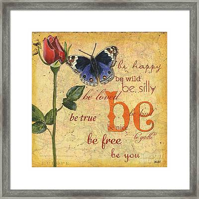 Roses And Butterflies 1 Framed Print