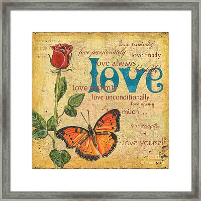 Roses And Butterflies 2 Framed Print