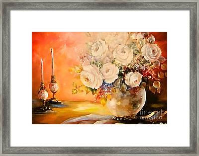 Roses And Candlelight Framed Print by Patricia Schneider Mitchell