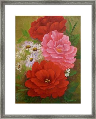 Roses And Daisies Framed Print